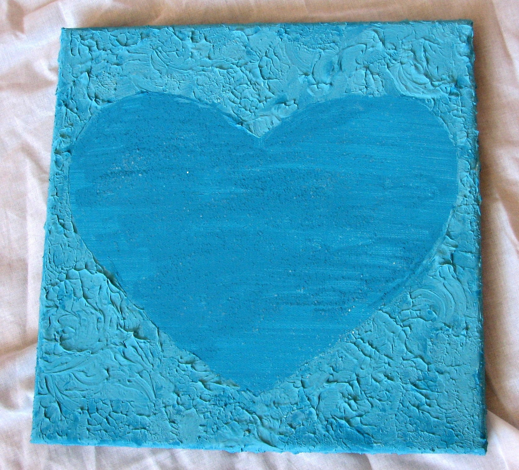 Blue Texture Heart Canvas