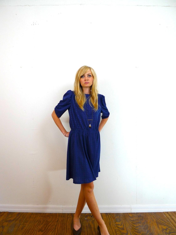 vintage navy blue diamond print puffy sleeve dress medium large