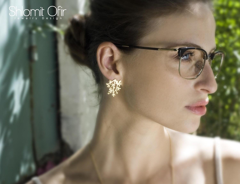 Vivid Branch Post Earrings in Matte Gold