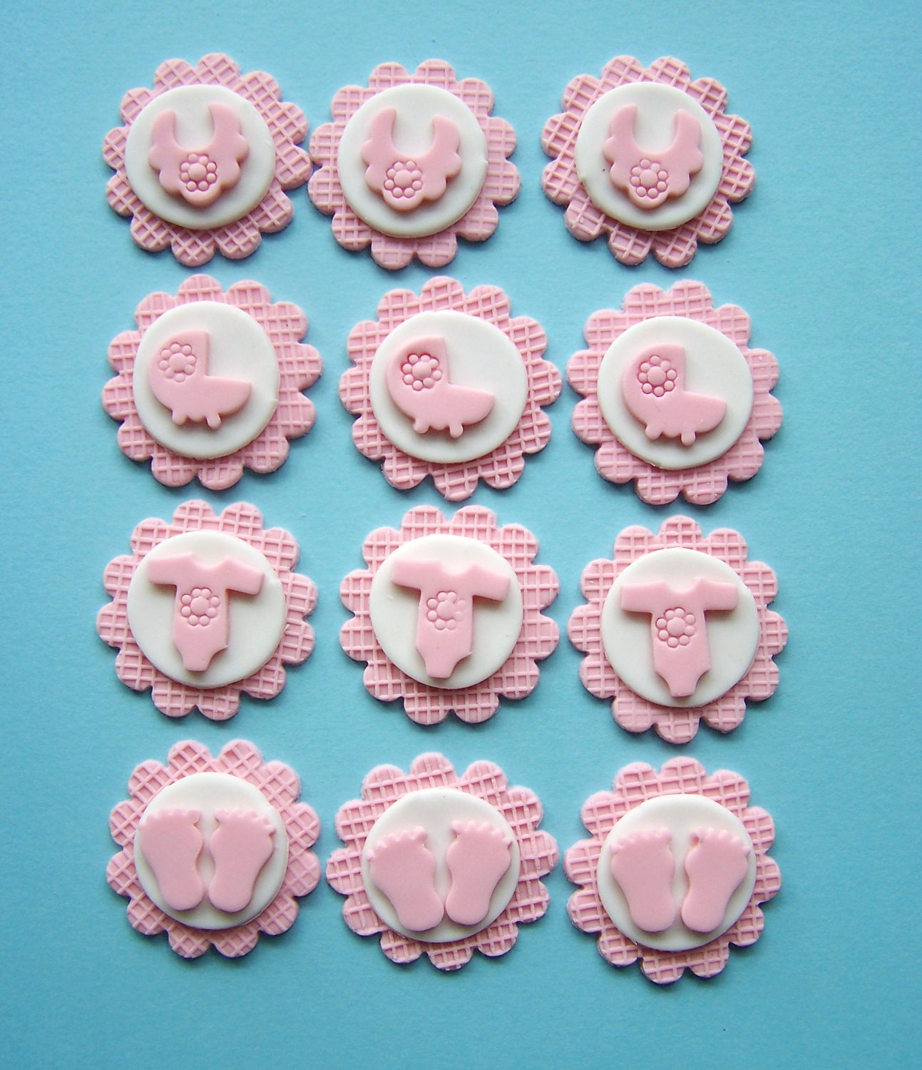 Cake Toppers Baby Shower Etsy : Baby Shower Set Edible Cupcake Topper Fondant by ...