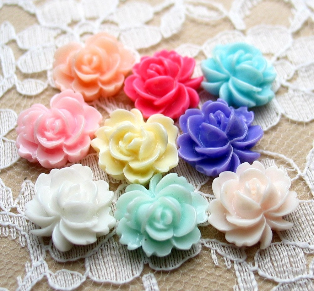 Resin Flower Cabochon - 14mm x 15mm - 18 pcs -  Mixed Colors