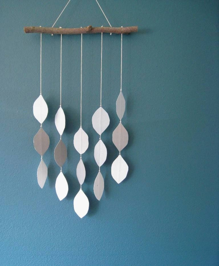 Leaf Mobile in Blue and Gray by wanderthisway on Etsy mobile branch gray