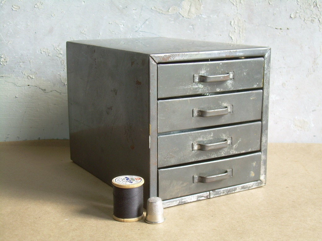 Vintage Industrial Metal Organizer Small Four Drawer Chest - TheArtifactoryStudio