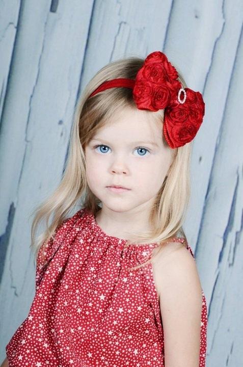 Красный лук волос - Красная атласная Розетка волосы бант с Кристалл центр Stretchy Красная Повязка - Вирджиния - Рождество Лук / Holiday Лук