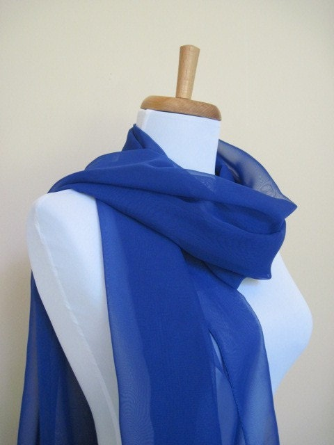 Buy two and get one free ( you choose your colors) A Beautiful dark blue sheer Scarf or neckwrap for Spring Summer