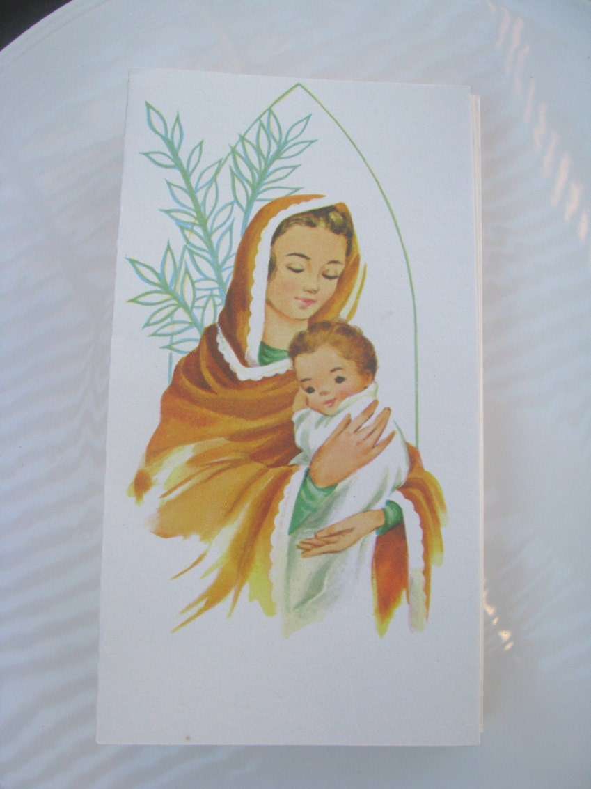 Vintage Set of 20 Christmas Cards with Mary and Sweet Baby Jesus- Dot and Army