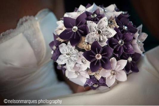 paper kusudama origami flower wedding bouquet by
