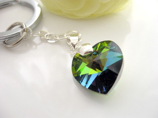 Swarovski crystal and  sterling silver keychain/ bag charm