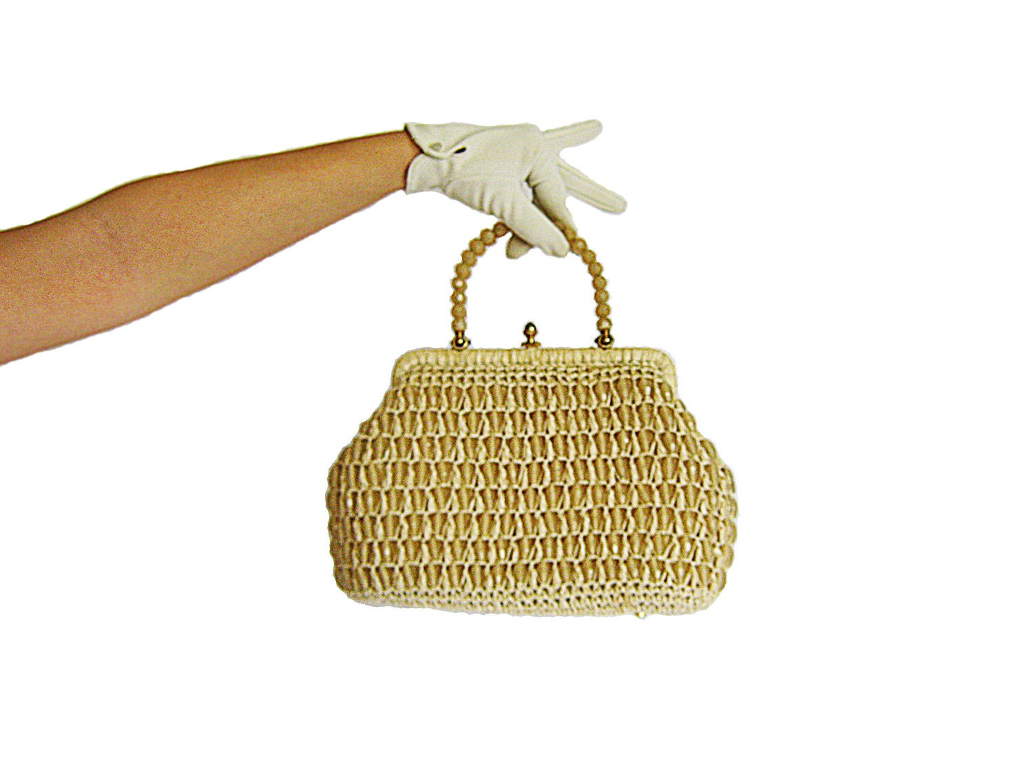 1960s Beaded Handbag / Made In Italy / Cream / Woven / Faceted Beads - CoyoteMarmalade
