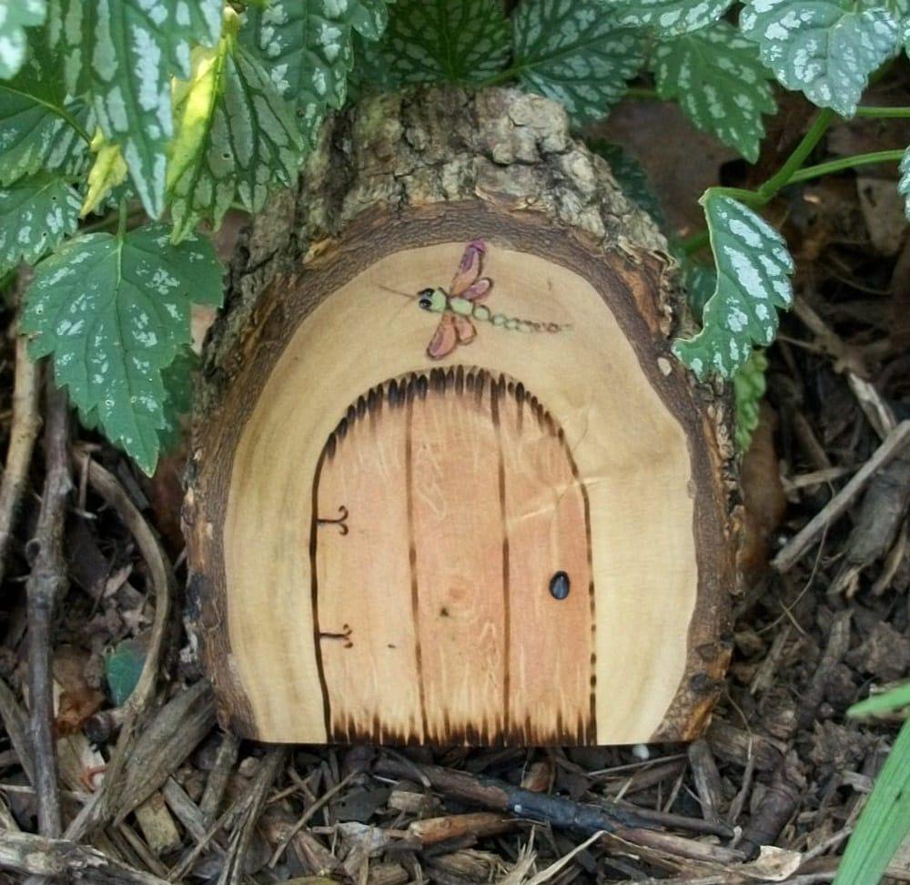 Природные и Сельский Магический фея двери Faerie, Гном, Хоббит, Эльфы, Ви народной магии портал с Dragonfly 3 дюйма х 3 1 / 2 дюйма