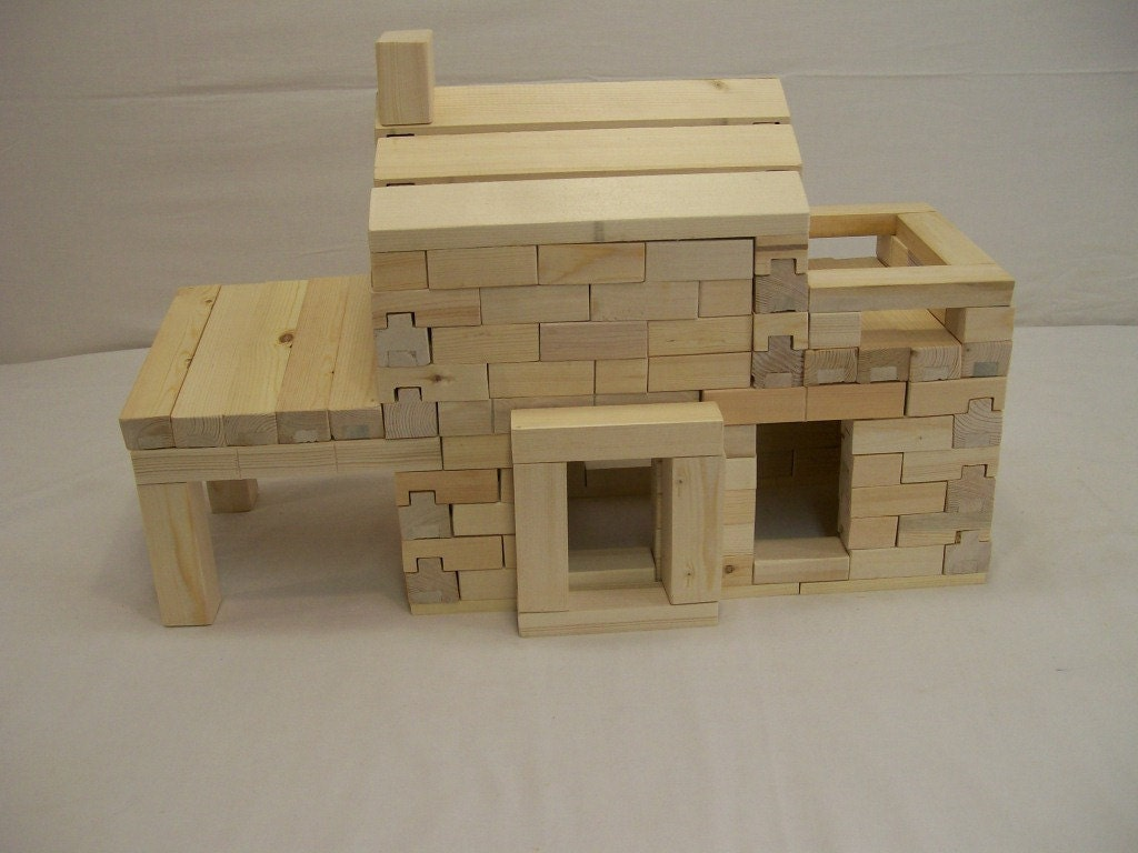 Craft wood blocks 2 story house set wood by hummelcreations for Child craft wooden blocks