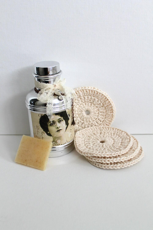 Лица колодки органического хлопка Spa набор из четырех круг ручной Scrubbies вязания крючком