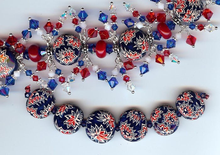 PATRIOTIC polymer clay bead set