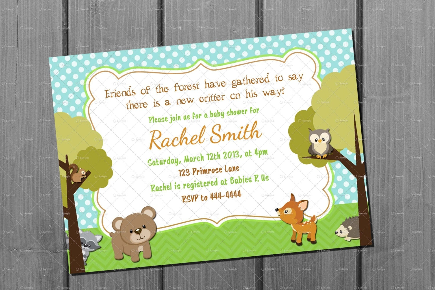 woodland animal baby shower invitation and by cuddlebuginvitations