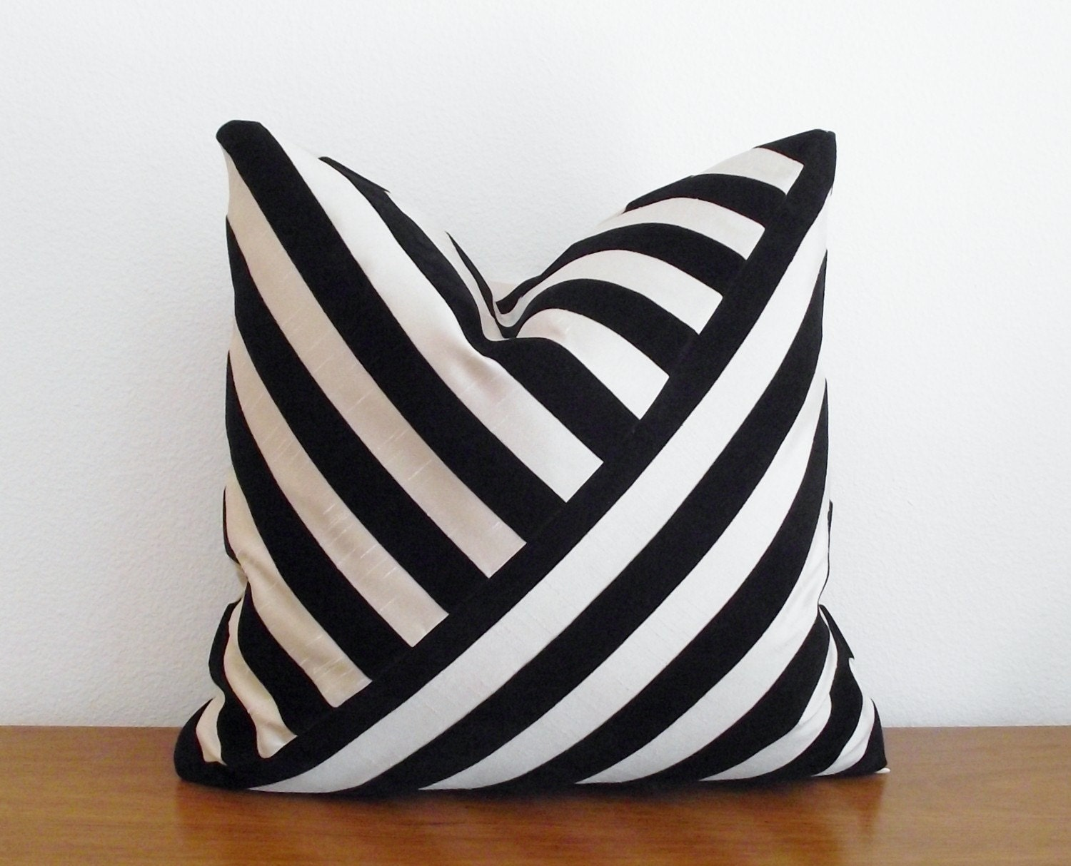 Decorative Pillow Cover- Velvet Stripe- Black- Ebony- 18x18 inches