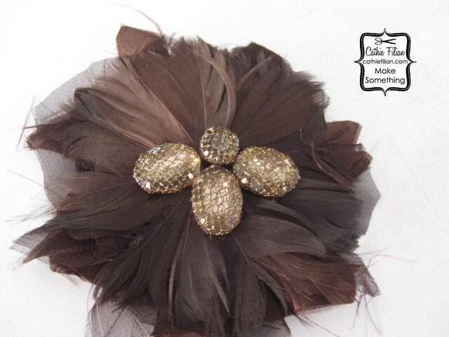 Перо Цветок для изготовления fascinators - Дамских - Волосы Цветы, Pin, перья, банты - Шоколад Браун