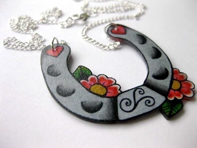 sweet lucky tattoo inspired horseshoe necklace. From wickedminky