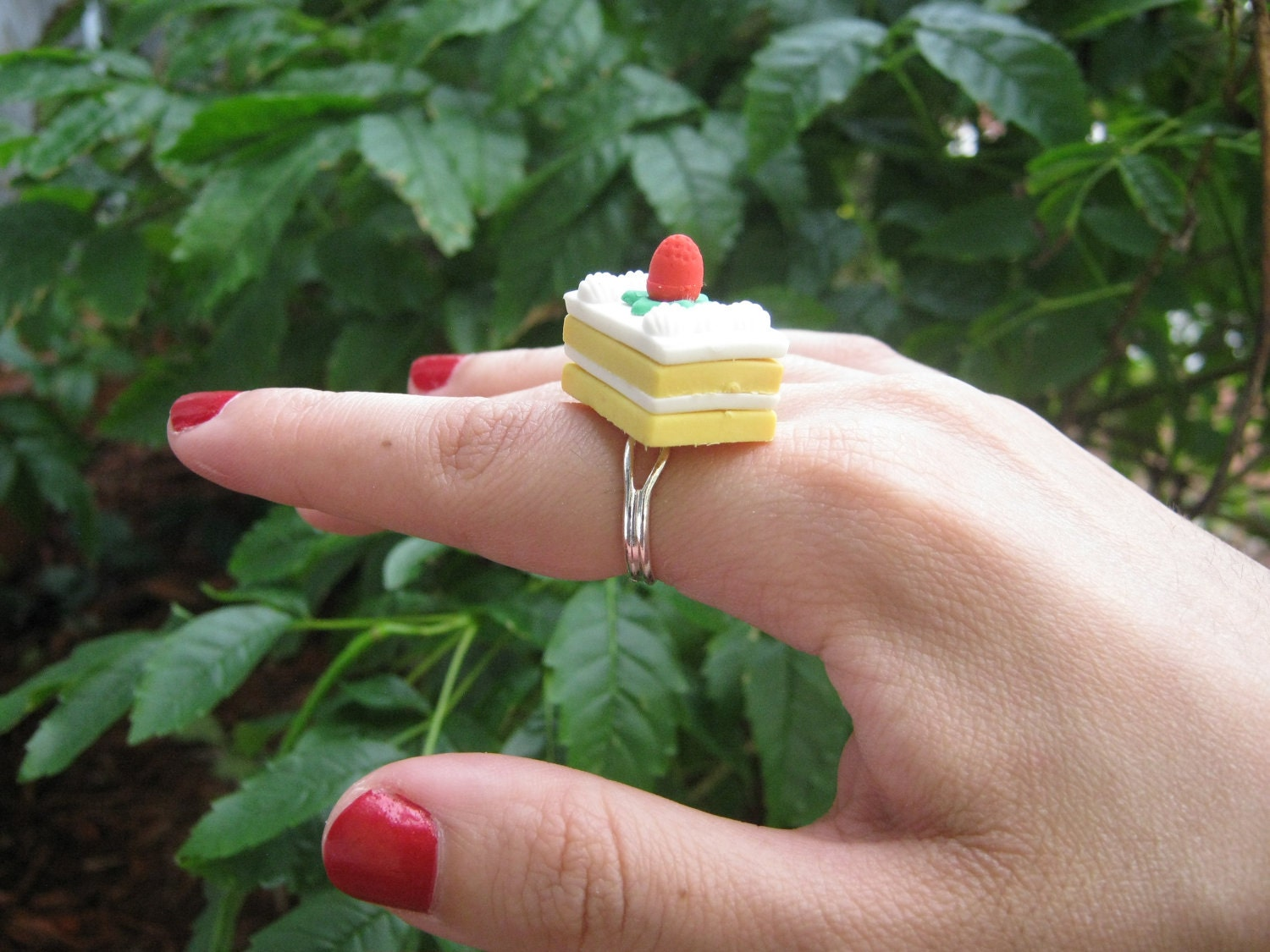 Strawberry and Vanilla Petit Four Cake Eraser Ring by PinkFrog4U from etsy.com