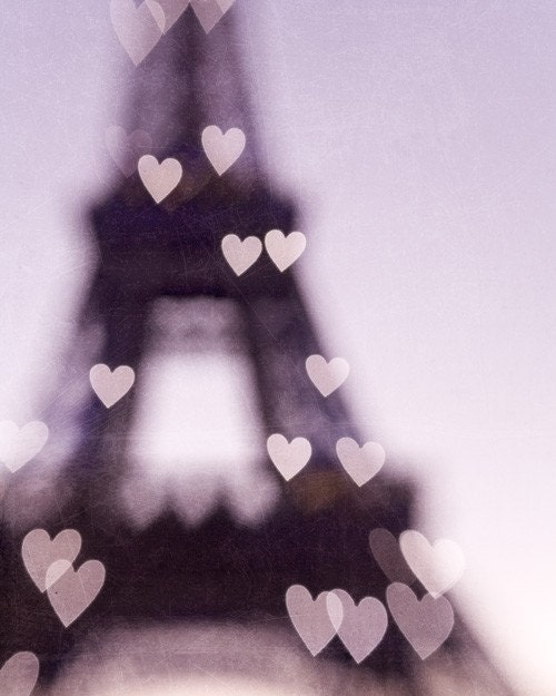 Eiffel Tower Print, Paris Photography, Radiant Orchid, Valentines Day, Love, Romantic, Purple Wall Decor, Hearts, Pastel - City of Love - EyePoetryPhotography