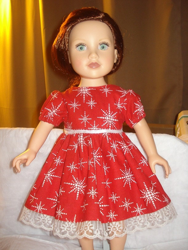 Holiday dress in red with white dotted snowflake print and lace trim American Girl Dolls - ag110