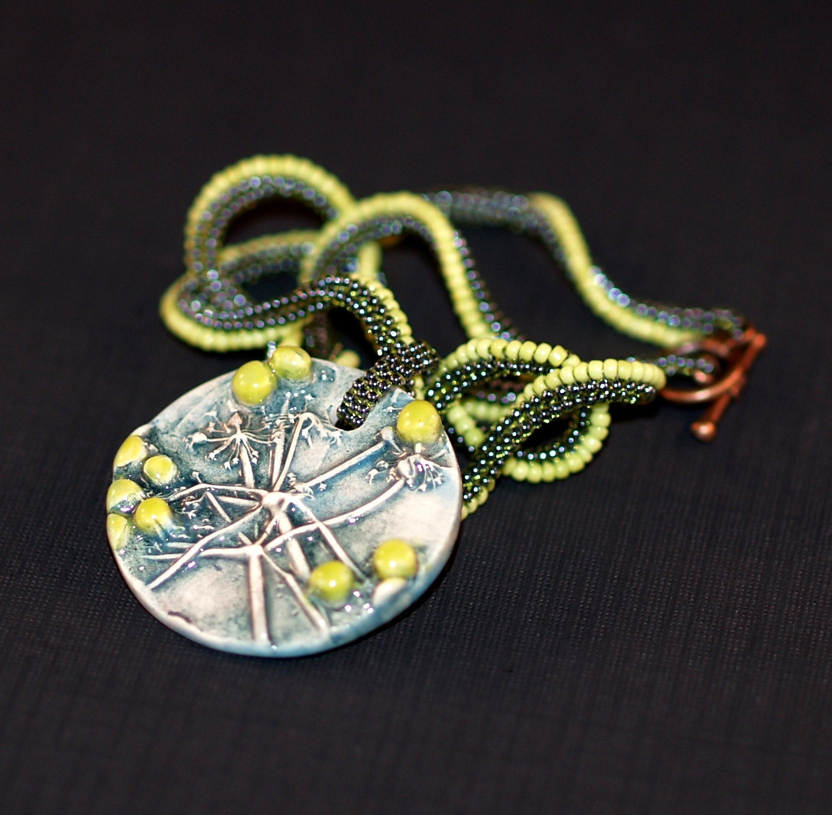 Cilantro Lime Twist - Artisan Ceramic Pendant on Ndebele Rope Necklace (3192)