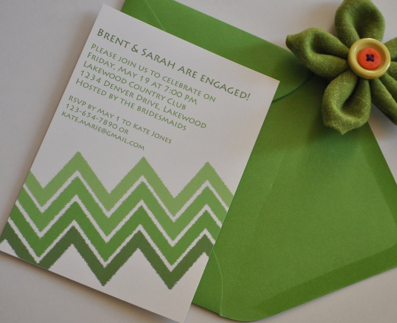 Chevron Watercolor Invitations - Digital, DIY, Printable Invitation - Fully Customizable - lanyapstudios