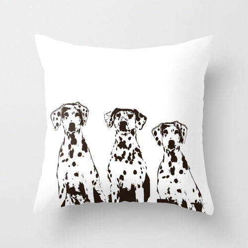 Dalmatian Dogs Throw Pillow 18 x 18 black and white by ialbert