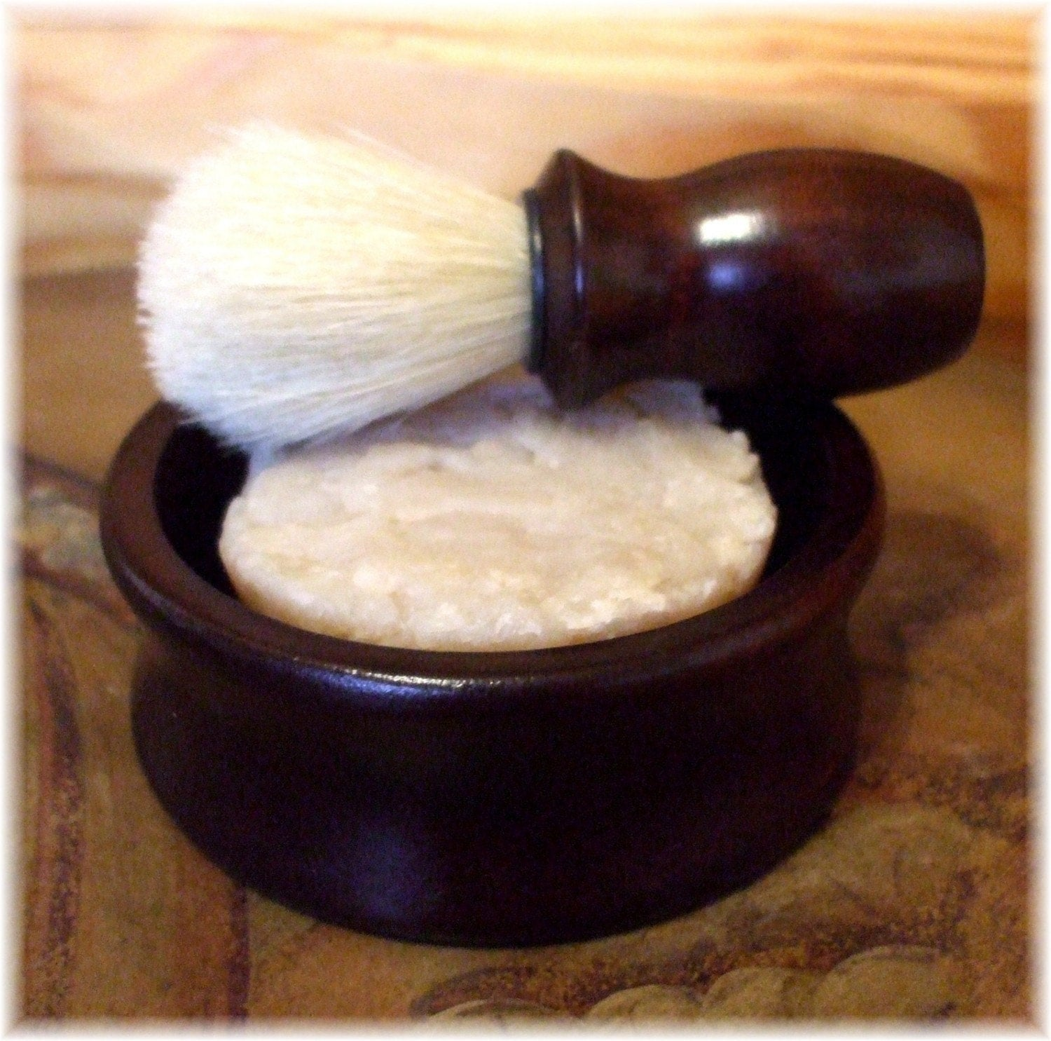 A  Classic Shaving Set with Moisturizing Shave Soap, Boar Bristle Brush and  Wood Shaving Bowl by MAN CAVE SOAPWORKS