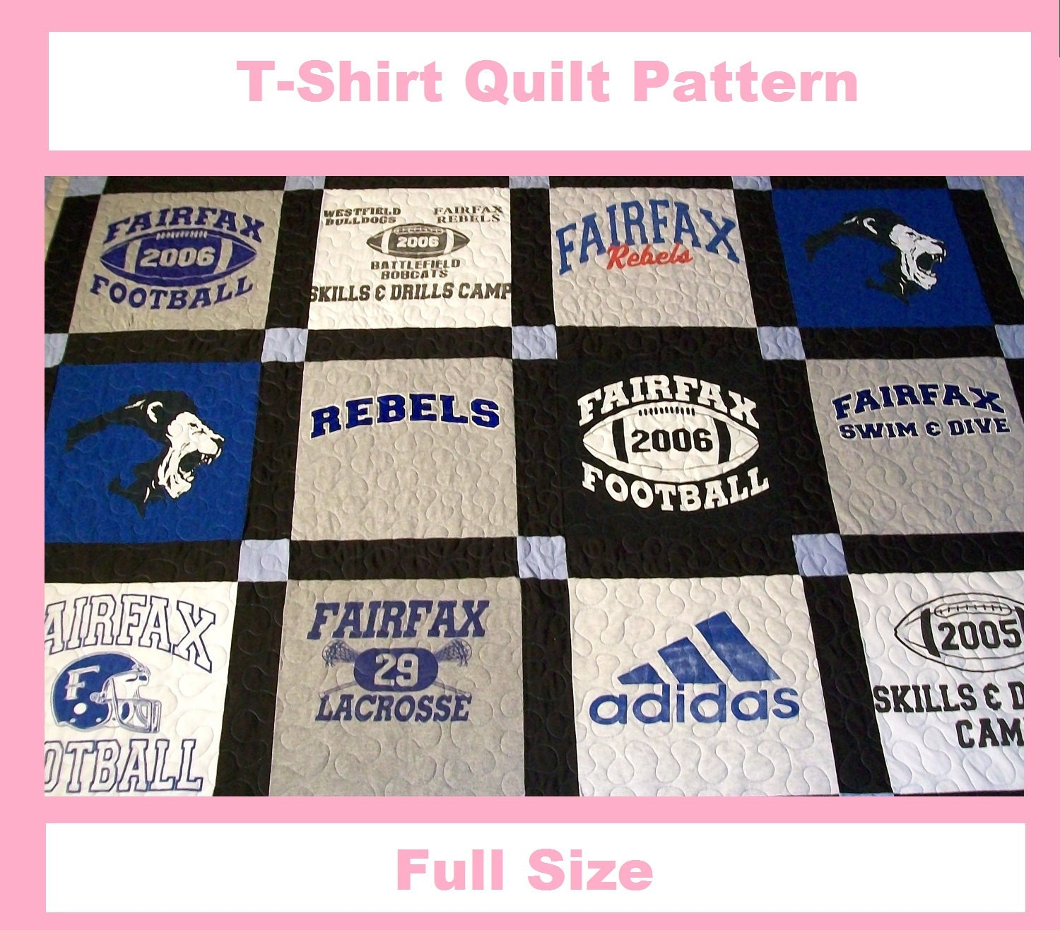 Tshirt Quilt Pattern Pdf E Book How To Make A By Quiltsbykandy