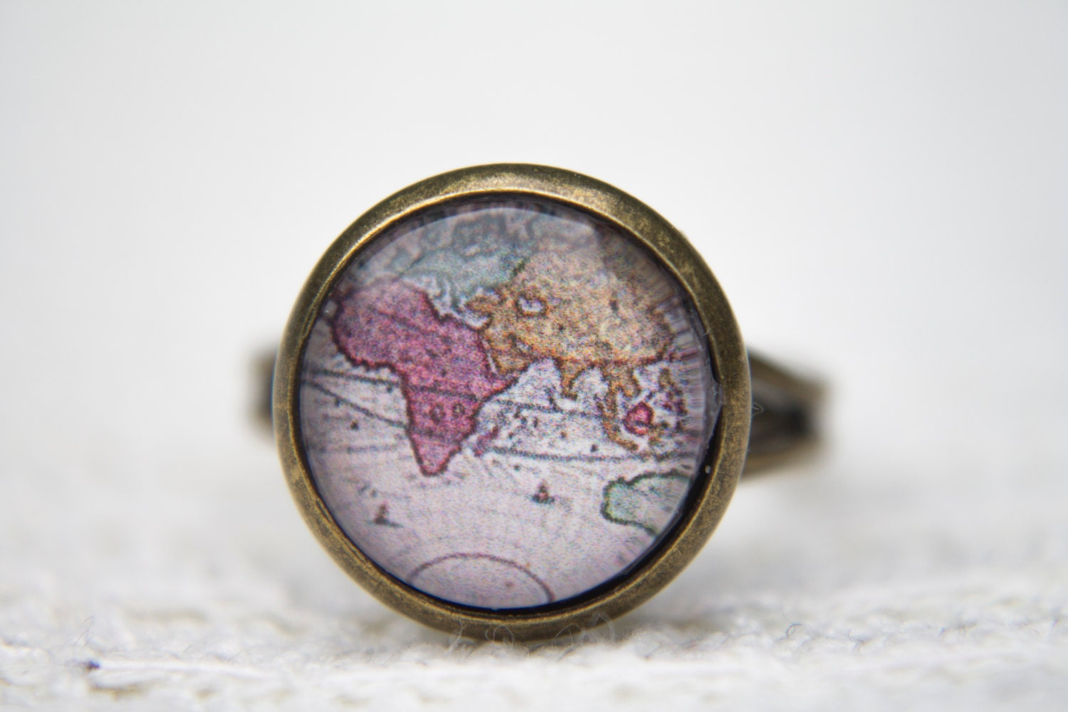 Vintage Map Ring Antique Map World Map Map Statement Ring Adjustable Ring Statement Ring Glass Dome Ring Africa