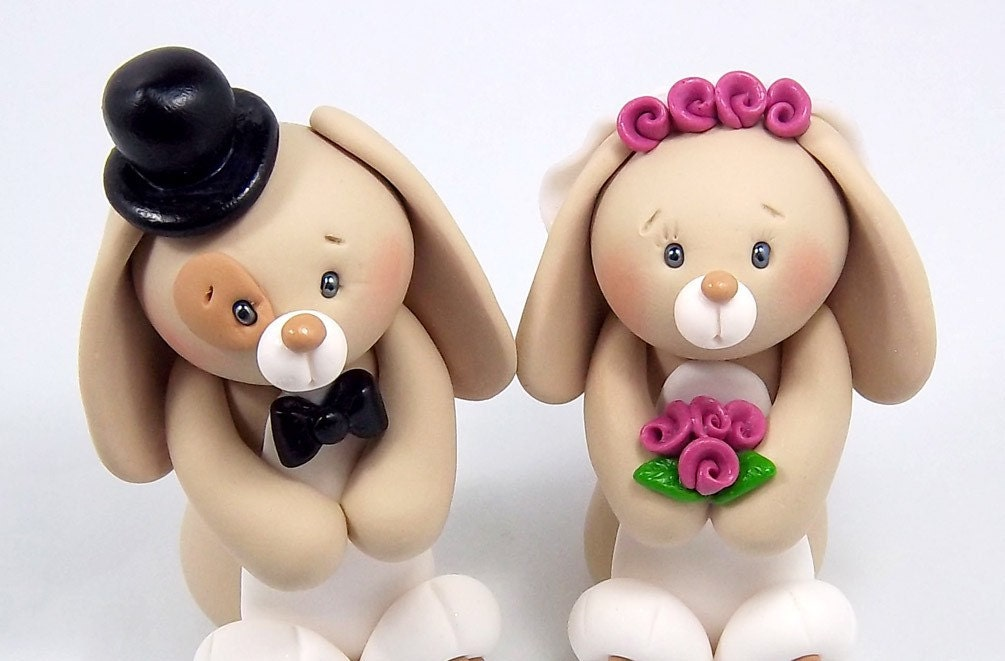 Bunnies Couple Polymer Clay Figurines - Personalized Wedding Cake Topper