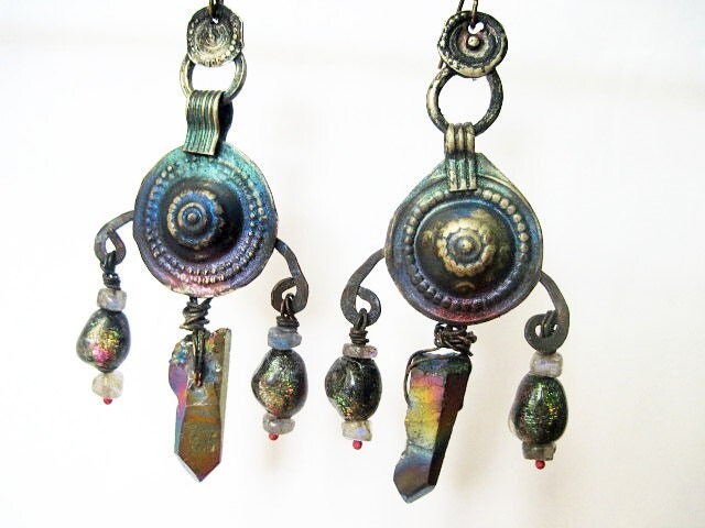 As a Star. Cosmic Tribal Talisman  Earrings with Rainbow Titanium Iridescent Stones and Faux Raku..