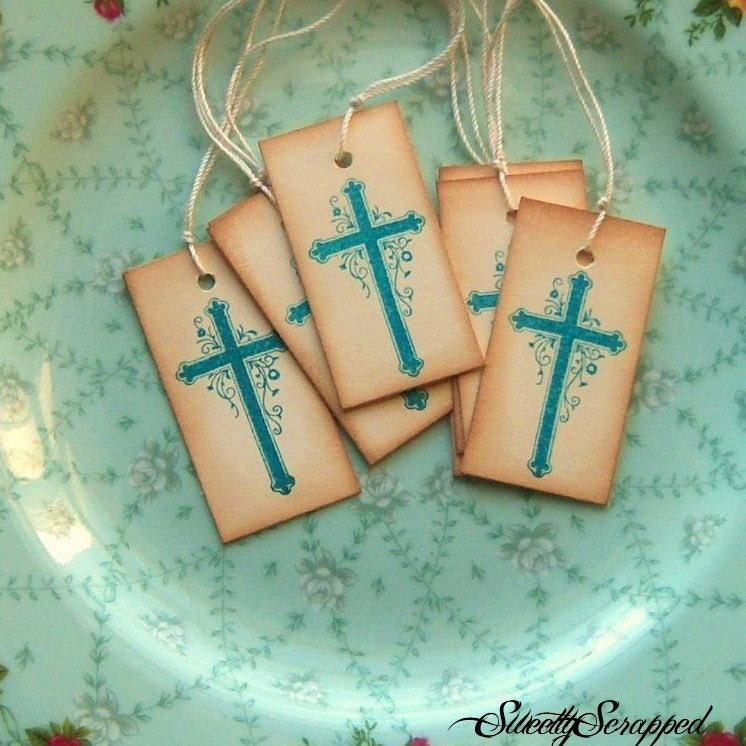 Vintage Inspired Cross in Teal with Hand Aging