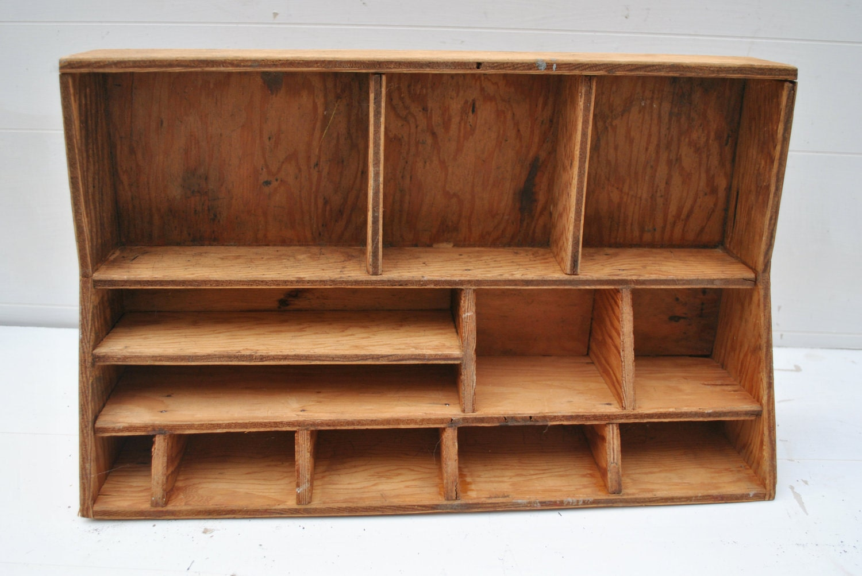 vintage wood desktop display organizer by cheryl12108 on etsy