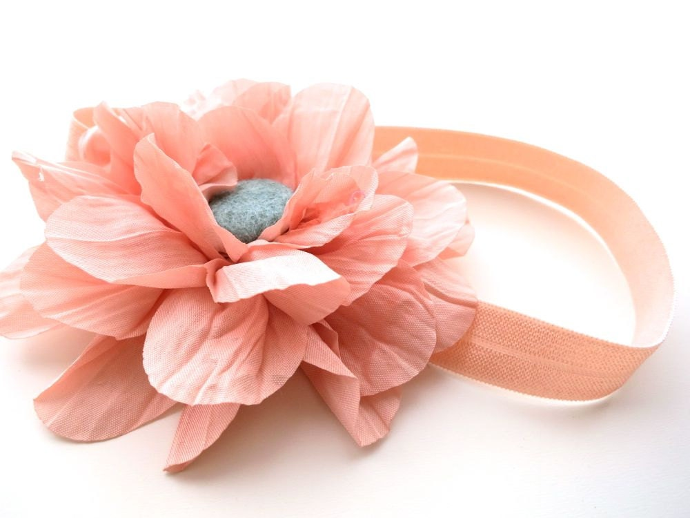 Fleurtatious Headband Hair Band for Baby - Fabric Flower Dahlia Magnolia Blossom - Felt Button - Fall Trends Coral Pale Peach Aqua Teal Blue - nattybratty