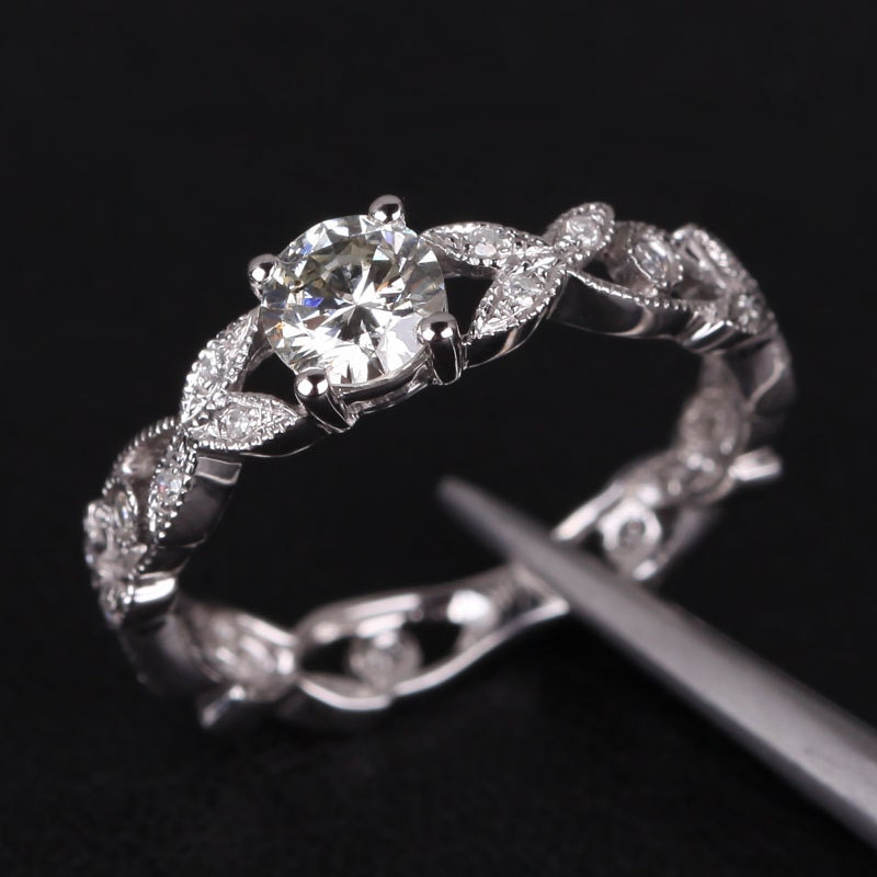Floral Shank Art Deco Moissanite & Diamond Ring in 14K by TheLOGR
