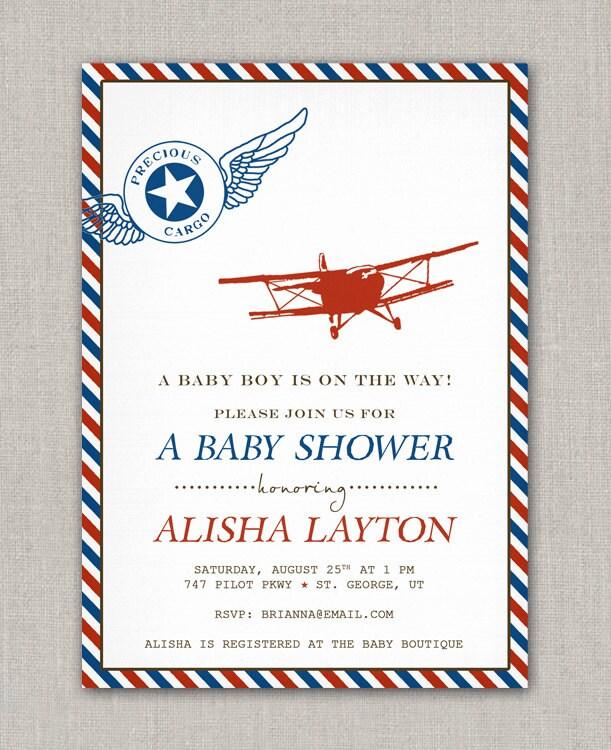 precious cargo vintage airplane baby shower invitation