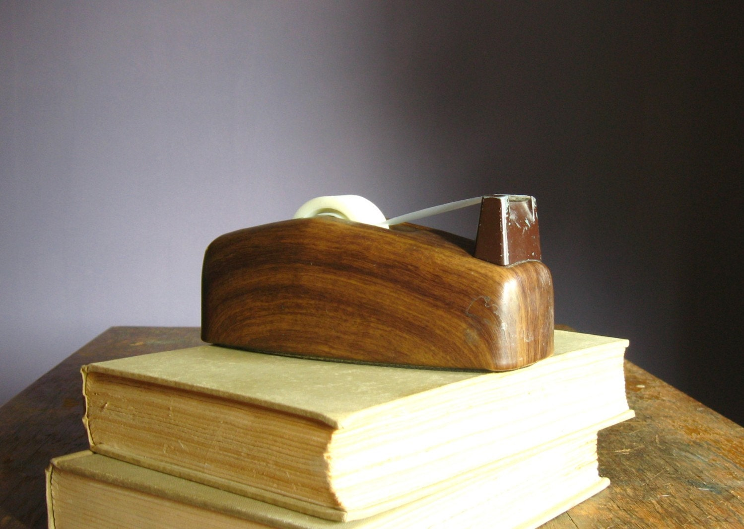 Vintage Faux Bois Scotch Tape Dispenser