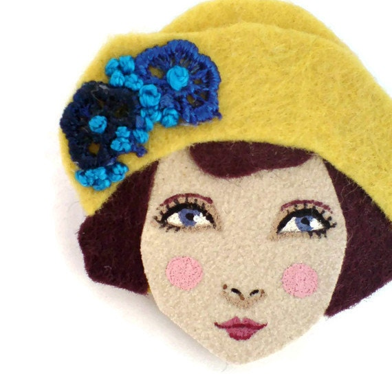 Felt brooch - Louise, 1920s girl, yellow, burgundy, blue, woman face