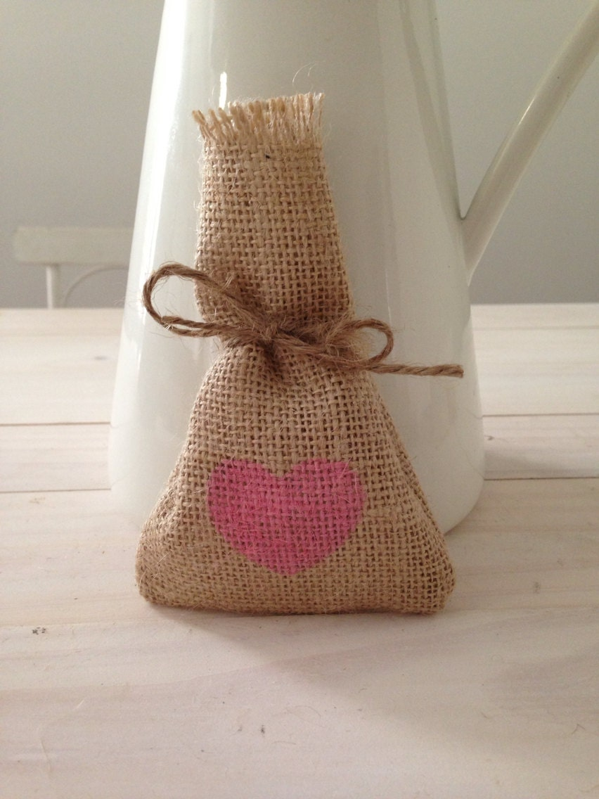 Pink Hessian/ Burlap Wedding Favor Bags by BreeWestwood on Etsy