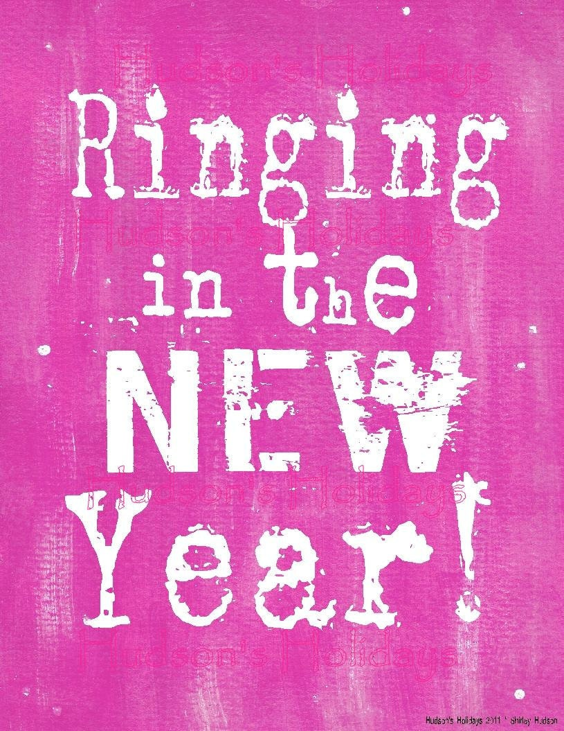 Ringing in the New Year Pink sign digital   - uprint NEW vintage art words primitive paper old pdf 8 x 10 frame saying