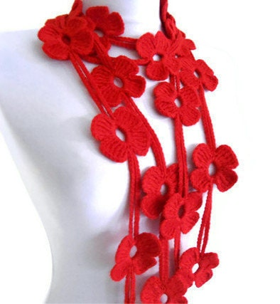 Red scarf with crochet flower patterns Lariat by likeknitting