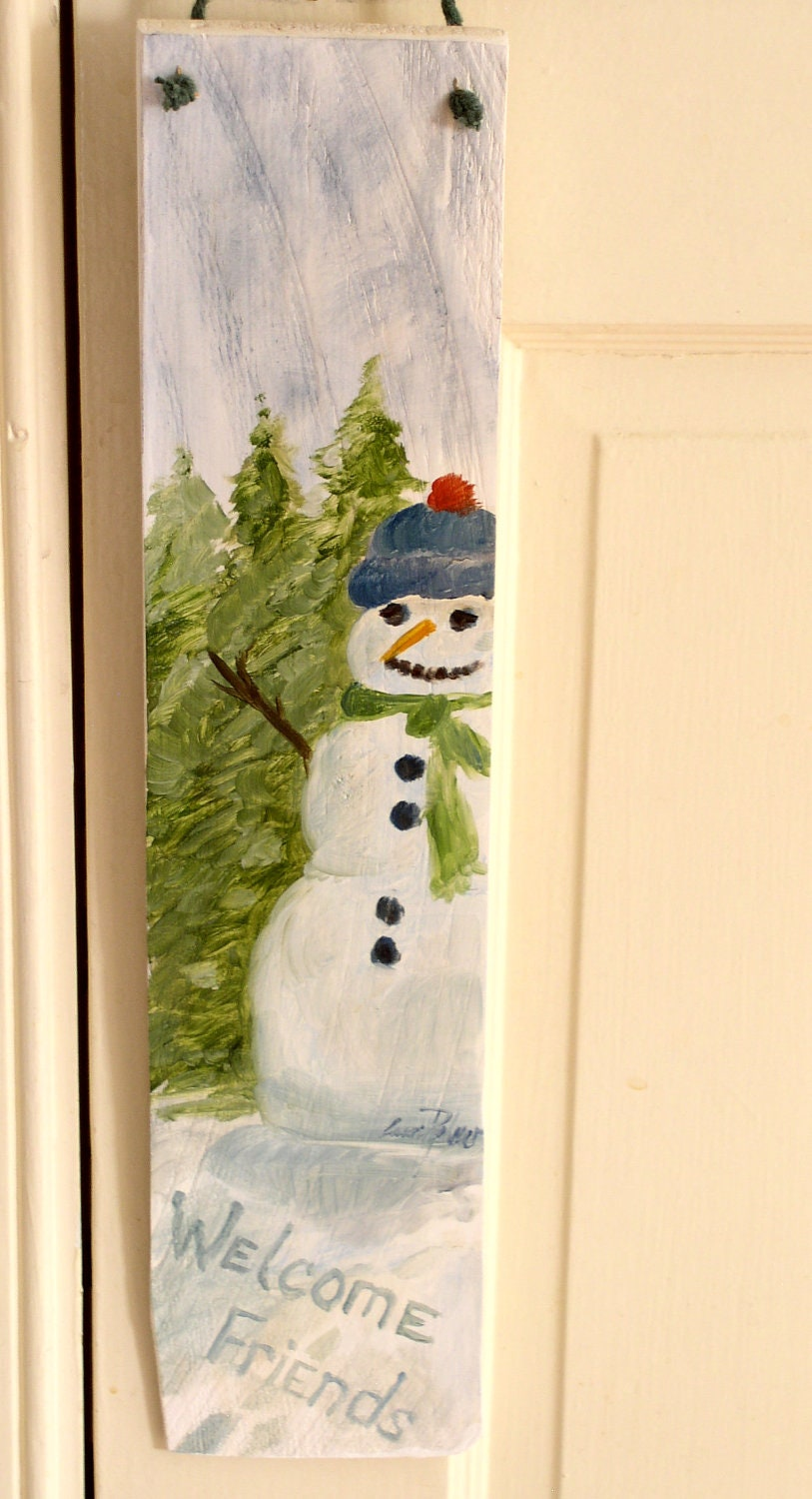 Painted Welcome Sign Cedar Winter Snowman Ready to Hang