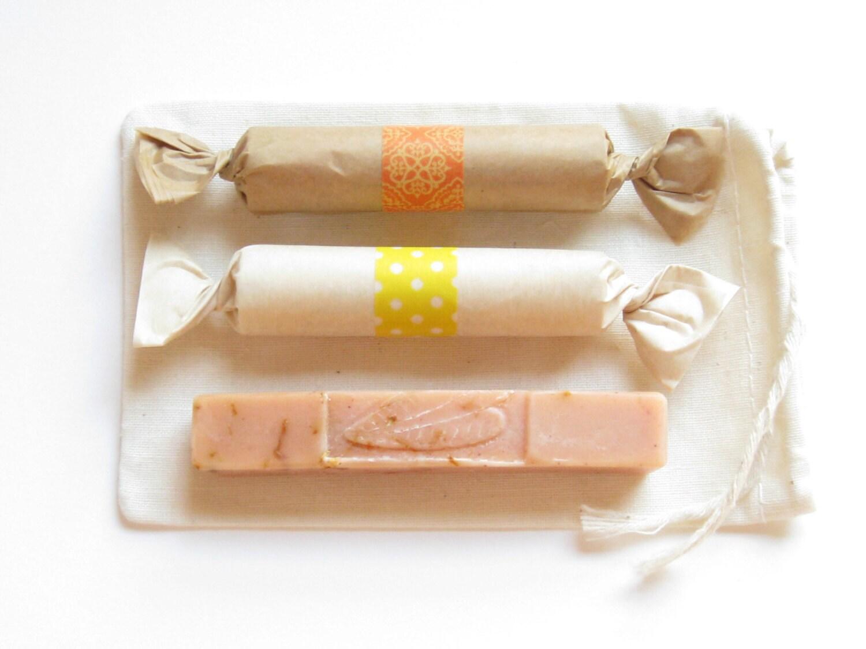 Citrus Mini Treat // Gift Set // Natural Travel Soap Lip Balm Cuticle Cream // Orange Yellow Sunshine Gold - swampangelsoap