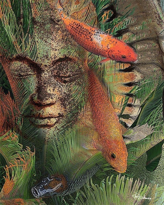 Items similar to koi fish art tropical and surreal for Exotic koi fish