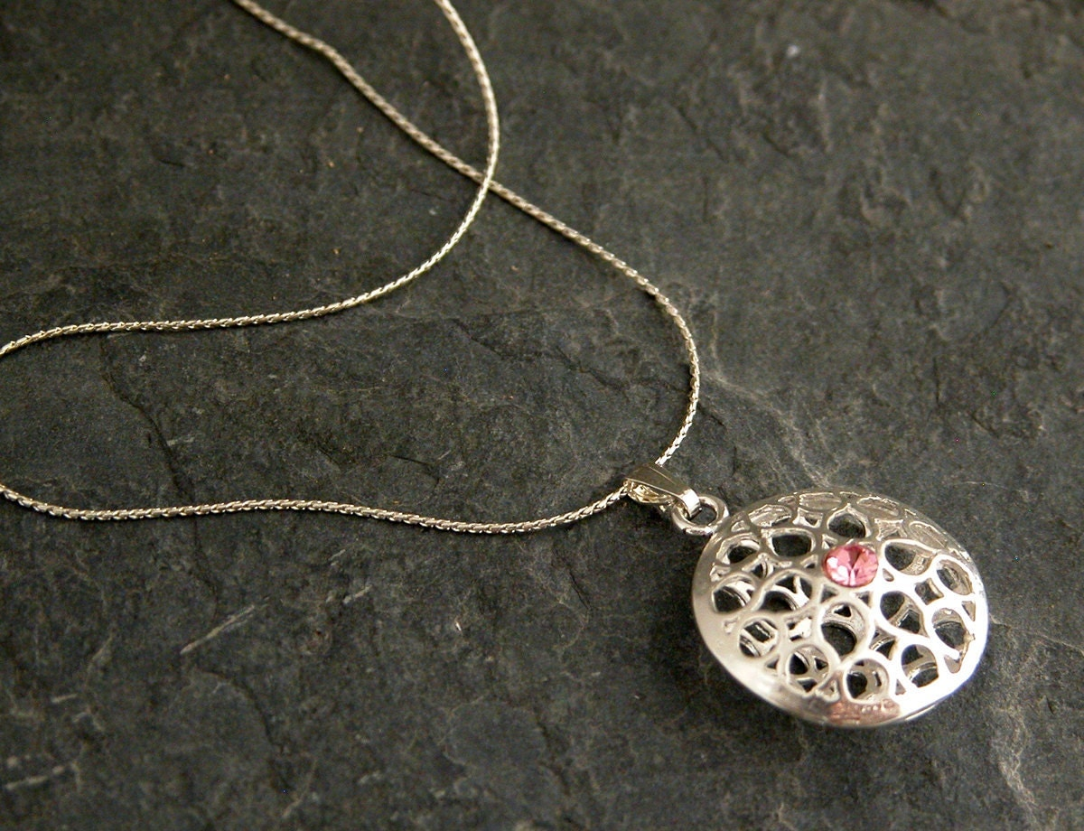 Pink love  Silver charm necklace by gazellejewelry on Etsy