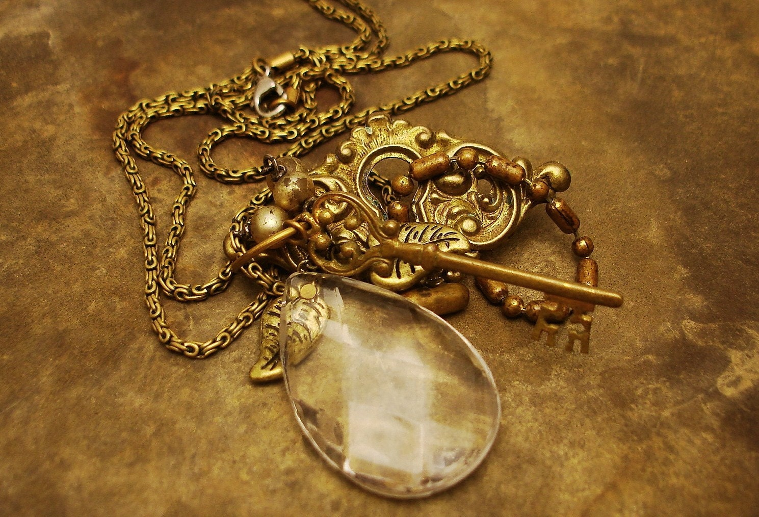 Crystal Prism Key Found Objects Necklace