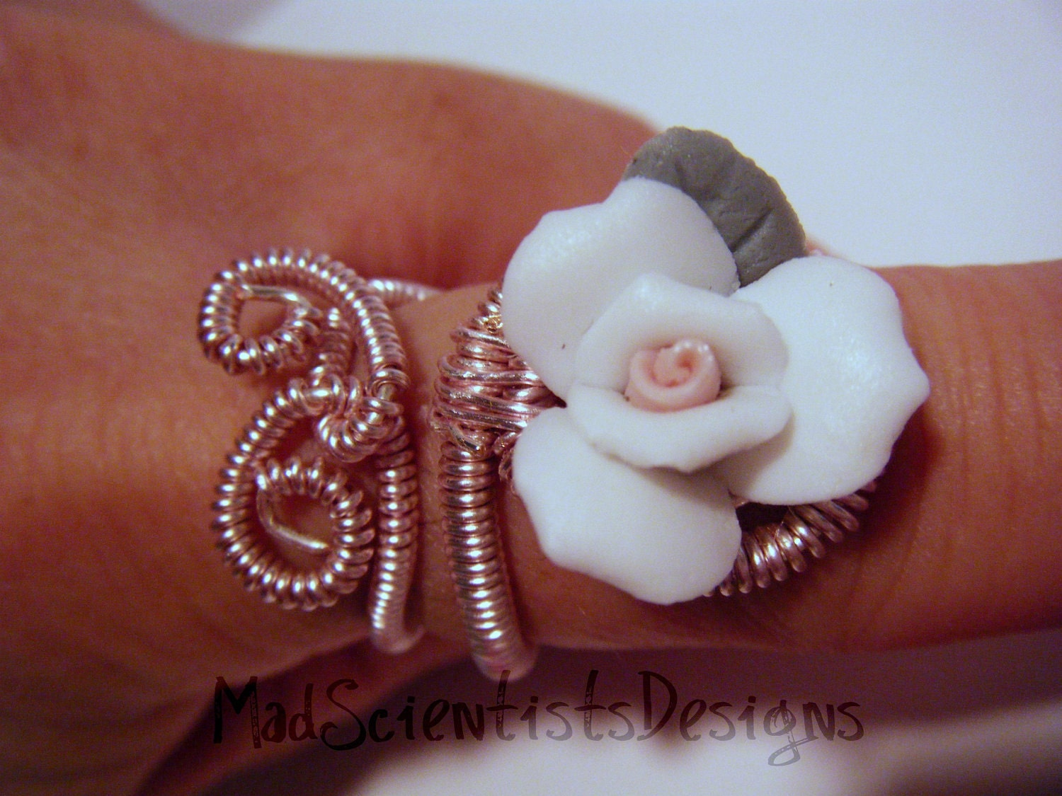 August Challenge Artists For Animals Pink Coiled Wire Ring OOAK