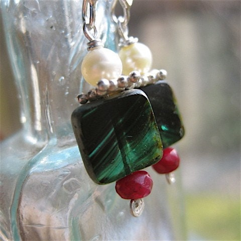 Holiday Window Glass Earrings with Ruby and Pearl