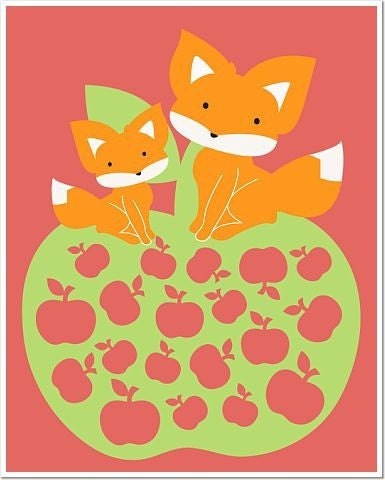 Foxes Apples 8 x 10 Matte or Glossy Photo Poster